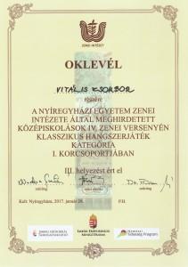 Középiskolások IV. Zenei Versenye - oklevél